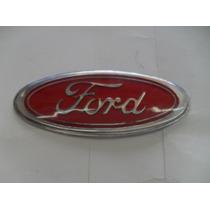 Emblema Ford Oval Fixar Na Grade De Carros Vermelho Cromado