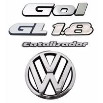 Kit Emblemas Gol Quadrado Gl 1.8 + Vw Grade- Modelo Original