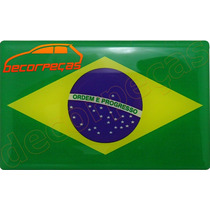 Emblema Adesivo Bandeira Brasil 5x8cm Resinado Novo