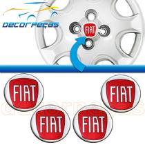 Kit Com 4 Emblema Adesivo Fiat Vermelho Roda Calota Emblemas