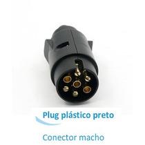 Plug 7 Polos P/ Engate Reboque Preta - Parte Macho