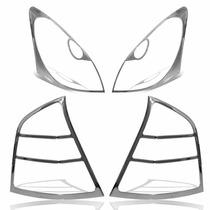 Kit Aro Moldura Cromada Farol Lanterna Livina 08 09 10 11 12