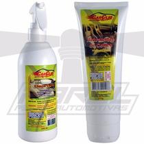 Kit Limpa Couro Forro Teto Porta Carpete Banco + Hidratante