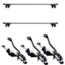 3 Suportes + Par Rak Bike Teto Thule Aluminio P/ Longarinas