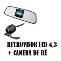 Retrovisor Lcd 4,3 Colorida + Câmera De Ré Borboleta