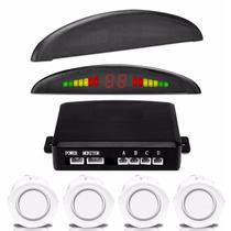 Sensor Estacionamento Branco Ré 4 Sensores Display Led Som