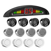 Sensor Ré Estacionamento 4 Pontos Display Led Sonoro Preto