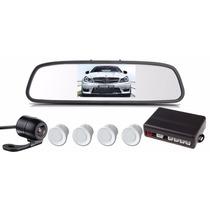 Sensor Estacionamento Câmera Ré Retrovisor Lcd 4.3 Branco