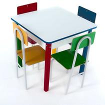 Mesa Mdf Com Cadeiras De Ferro Infantil Didático Escolas