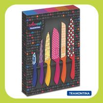Kit / Conjunto De 6 Facas Inox Coloridas Colorcut Tramontina