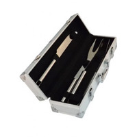 Kit Churrasco Com 3 Peças Em Inox - Maleta De Alumínio