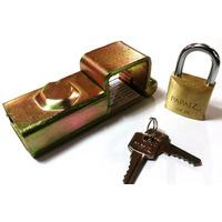 Trava P/ Portão Porta Cadeado N° 1 + Cadeado Papaiz 30mm
