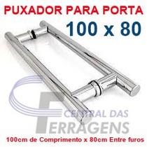 Puxador Tubular Aluminio 100cm X 80cm Para Porta De Madeira