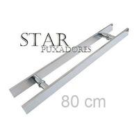 Puxador H Alumínio 80cm X 60cm Porta De Madeira E Vidro