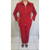 Terno Feminino Blazer Calça Microfibra Fino Acabamento 42/44