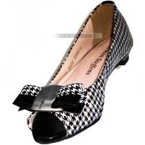 Nº 37 Peep Toe Carmen Steffens Preto Branco Sapatilha Sapato