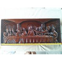 Santa Ceia Esculpida Em Madeira Maciça De Lei Cedro, Antiga