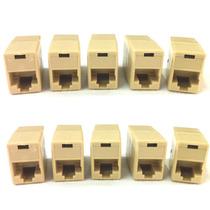 10 Adaptadores Emenda Conector Rj45 Fêmea X Fêmea Cabo Rede