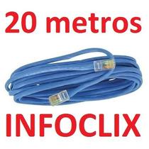 Cabo Rede Cat6 Azul 20m Metros Internet Net Pronto Usar Uso