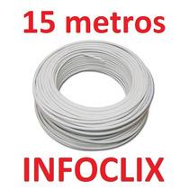 Cabo Rede Cat5e Branco 15m Metros Internet Net Pronto Uso