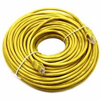 Cabo Rede Cat5e Amarelo 30m Metros Internet Net Lan Montado