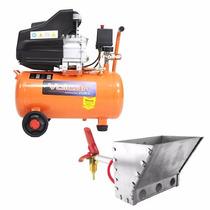Compressor Ar 2.5hp 25l Vulcan + Projetor Argamassa Reboco!