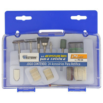 Kit De Acessórios Para Micro Mini Retífica 24 Peças Estojo