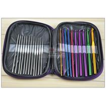 Kit 22 Agulhas De Crochê Alumínio Com Case