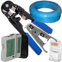 Alicate Crimpar Rj45+100m Cabo+ Decapador+ Testador+ 10 Plug