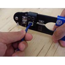 Alicate De Crimpagem E Corte Cabo Rede Conector Rj 45 Azul