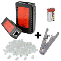 Kit Testador P/ Cabo De Rede + Decapador + 50 Conector Rj45