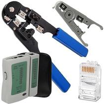 Alicate Crimpar Rj45 Cabo Rede+ Decapador+ Testador+ 30 Plug