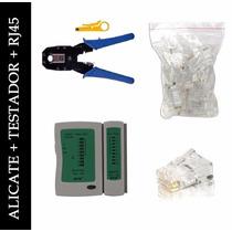 Kit Testador De Cabo +100 Plug Rj45 +1 Alicate Crimpar Rj-45