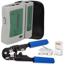 Kit Alicate Crimpar + Testador De Cabos + 10 Conectores Rj45
