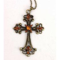 Colar Crucifixo Estilo Medieval Na Cor Bronze - Frete Grátis