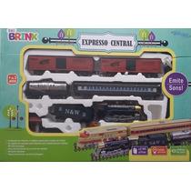 Ferrorama Expresso Central Trem Locomotiva Vagões Som E Luz