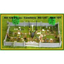 Kit 128 Peças Cemitério Carro+tumbas+flores Ho 1:87 Hbm
