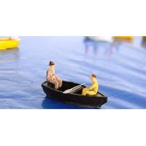 Barco Canoa + 2 Figuras Humanas Escala Ho 1:87 Praia