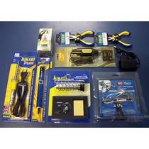 Kit Eletrônica Solda Hikari Furadeira Alicate 31 Chaves Lupa