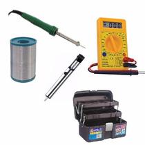 Kit Eletrônica Solda Multimetro Estanho Sugador Maleta