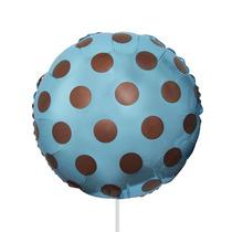 Balão Azul Com Bolinha Marrom Poa Tam 45cm Festa Kit C/2
