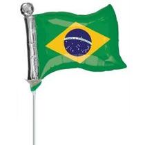 Balão Metalizado Bandeira Do Brasil Futebol Tam. 35cm