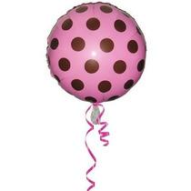 Balão Metalizado Rosa C/ Bolinha Marrom Poa Tam. 45cm
