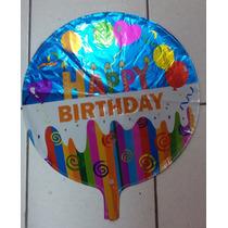 Kit C/ 12 Balões Metalizados Happy Birthday R$ 33,99