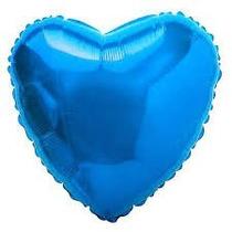 Balão Coração Azul Metalizado 45cm - Kit C/10 Unid Vazios