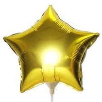 Balão Estrela Dourado Metalizado 45cm - Kit C/10 Unid-vazio