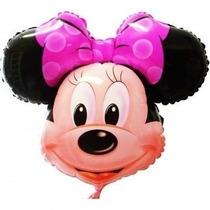 Balão Metalizado Minnie Laço Rosa - Pacote 20 Unidades