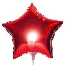 Balão Estrela Vermelha 45cm Metalizados Kit C/ 10 Unid Vazio