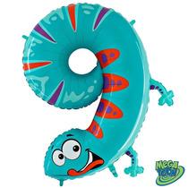 Balão Metalizado Numero 9 Lagarto 40