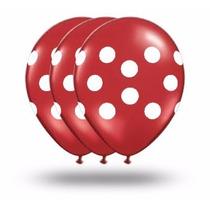 25 Unid. Balões Nº10 Vermelho Com Bolinhas Brancas * Bexigas